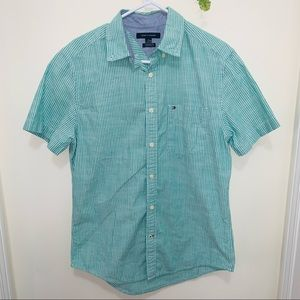 Tommy Hilfiger Teal & White stripped Outdoor Shirt
